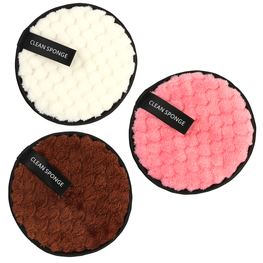 2 Ways Face Wash Puff Facial Cleaning Pad w/ Hang String,(3 Pack)Micro Fibre Flocking Puff,Soft & Comfortable Puff Sponges