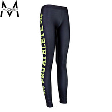 MUCHEN 2015 Women Black Leggings Yellow Side Letters Sports Pants Force Exercise Tights Elastic Fitness Running Trousers  S16-30