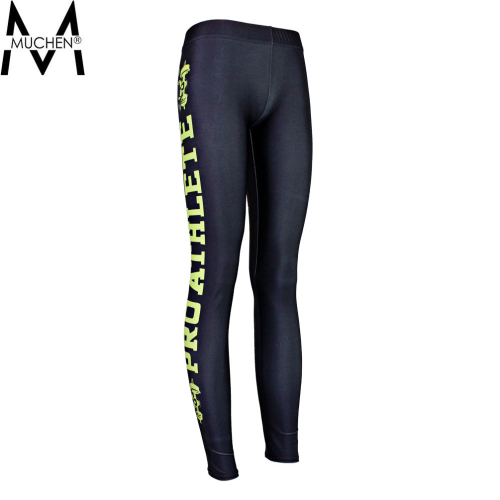MUCHEN 2015 Women Black Leggings Yellow Side Letters Sports Pants Force Exercise Elastic Fitness Running Trousers S16-30(China (Mainland))