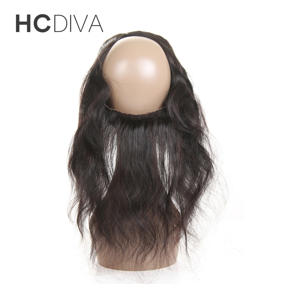 [HCDIVA] Brazilian Body Wave 22*4*2 Pre Plucked 360 Lace Frontal with Baby Hair Free Part Closure 100% Human Hair Non Remy Hair
