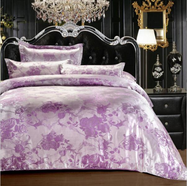 Designer Bedding Set Jacquard Satin Cotton Silver Grey