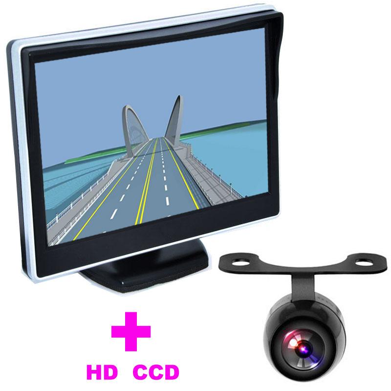 "5"" TFT LCD Car Monitor + 2 in 1 Auto Parking Assistance System Universal Car Rearview Camera backup camera HD 170 Angle monitor(China (Mainland))"