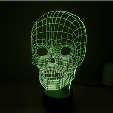 Free shipping Color changing 3D Handmade Skull Head LED Night Lights with USB Cable Table Lamp For Child Toy