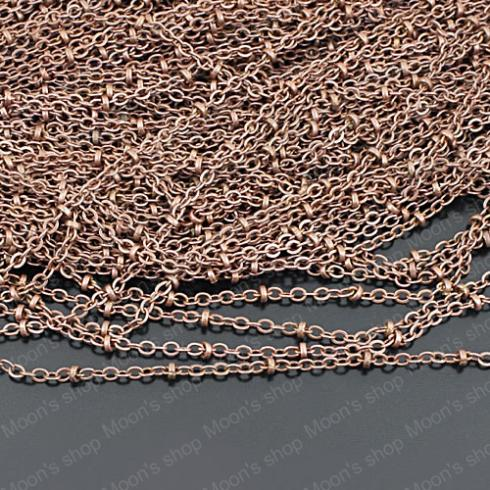 (25502)Metal Jewelry Link Necklace Chains  Copper Antique Copper Chain width:2MM flat O chain with 2.5MM bead 5 Meter<br><br>Aliexpress