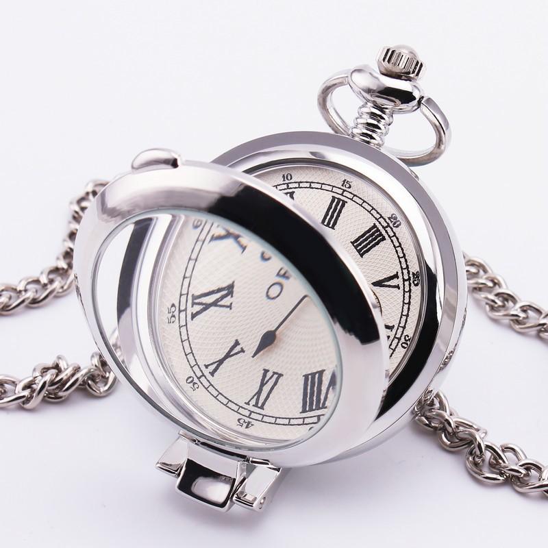 Orkina мужская ретро карманные часы роман белый циферблат нержавеющей стали гладкий серебряный чехол кварцевые шкентель портативный платье удобный 30
