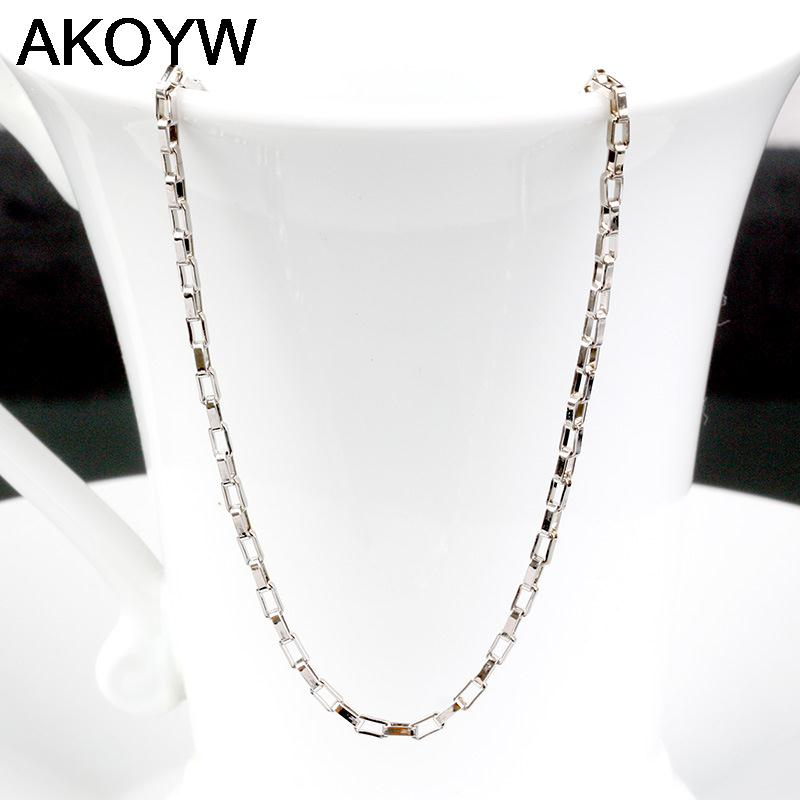 Silver plated rectangular box chain jewelry male and female models cute retro fashion jewelry manufacturers, wholesale 45cm(China (Mainland))