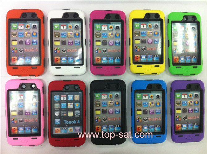 wholesale silicone back case shell ipod touch 4 free shipping 20 pcs /lot(China (Mainland))