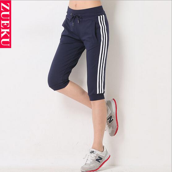 New Style Summer-Autumn Casual Slim Cotton Sport Capris Pants For Women High Waist Drawstring Pockets Side Striped Harem PantsОдежда и ак�е��уары<br><br><br>Aliexpress