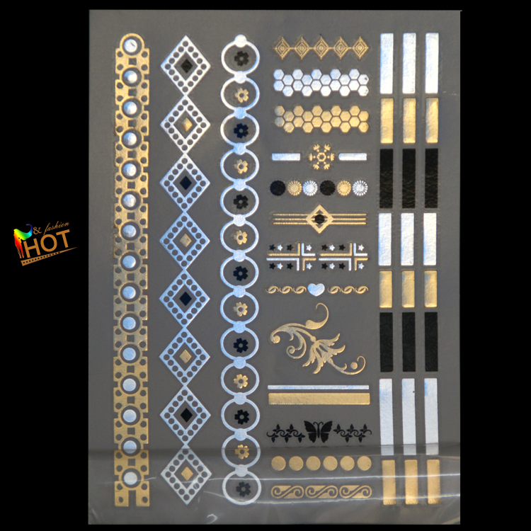 body art painting tattoo stickers glitter Metal gold silver temporary flash tattoo necklace Disposable tattoos Wholesale