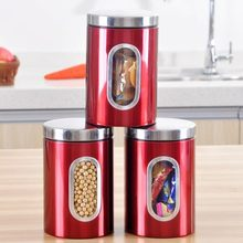 3pcs Stainless Steel Window Canister Tea Coffee Sugar Nuts Jar Storage Red New Promotion EMS DHL Free Shipping Mail(China (Mainland))