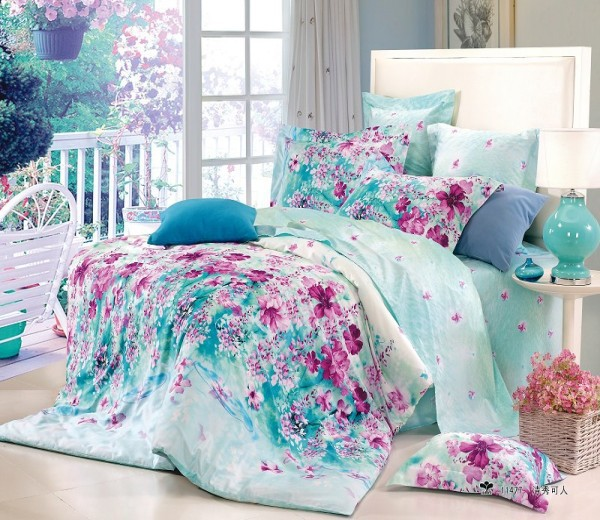 Free shipping flower blue floral cotton queen size 4pc bedding duvet covers teen bedding bedroom - A nice bed and cover for teenage girls or room ...