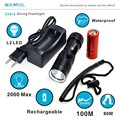 2000LM XML L2 LED Waterproof Underwater Dive Diving Flashlight Dive Torch Light 100 Meter Lamp for