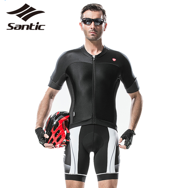 SANTIC UV Protection Men Cycling Jersey Sports MTB Downhill Bike Jersey Short Sleeve Bicycle Jersey Suit Cycling Clothing XXXL