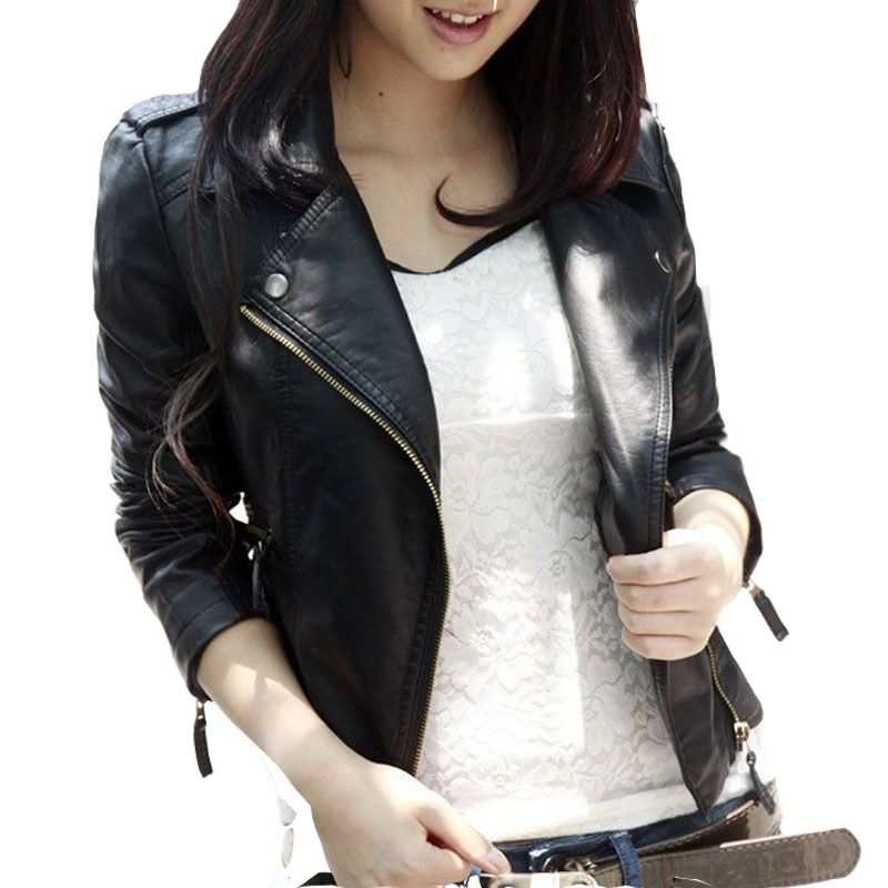 New Spring Autumn 2016 Women Jacket Black Fashion Slim S-3XL PU Leather Motorcycle Short Outwear Jaqueta Feminina Damen Jacket