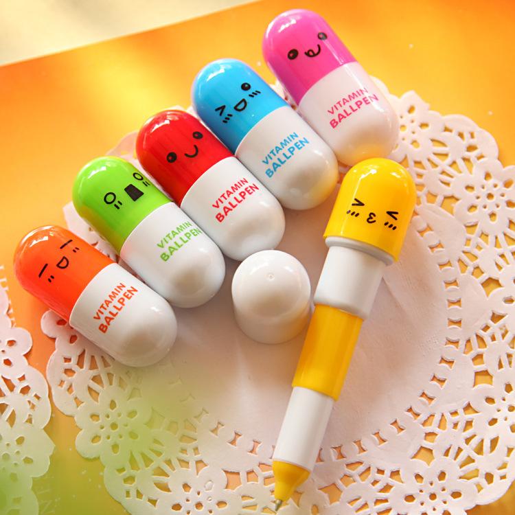 12 pcs / lot Personality lovely pills ballpoint 0.5mm Cute kawaii stationery school supplies Student prizes vitamin novelty pens(China (Mainland))