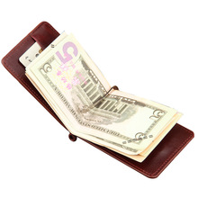 2017 Hot Sale Fashion New Men Money Clips Black Brown PU Leather 2 folded Open Clamp For Money With Zipper Pocket Free Shipping(China (Mainland))