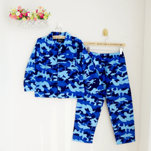 Blue pattern camouflage 100% comfortable cotton pajamas tracksuit children Suit(China (Mainland))