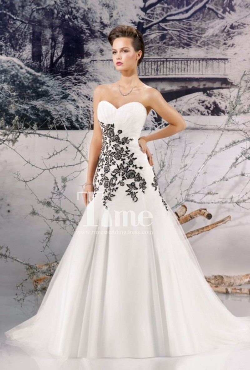 Mermaid black and white wedding dresses 2014 new arrival for Wedding dresses white and black