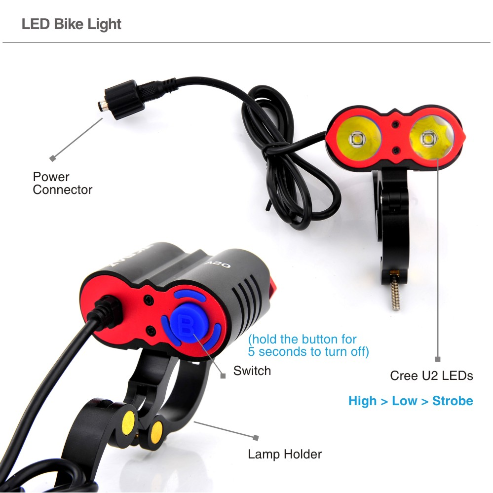 New arrival!!! LED Bicycle Front Light Lamp, 2x Cree U2 LED Rechargealbe Bike Lamp Headlight 300M 5000 Lumens Power Bike Light(China (Mainland))