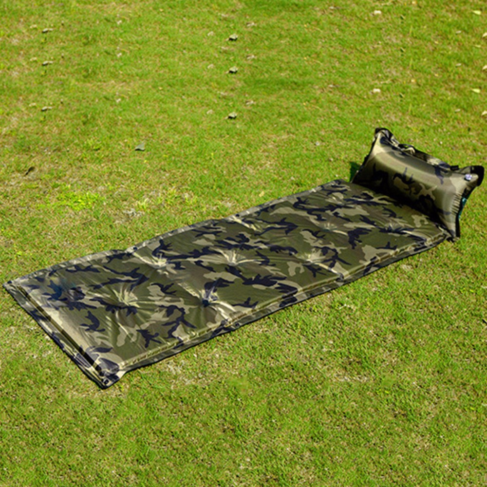 2016 New Automatic Inflatable Sleeping Pad Mat with Pillow for Camping Camp Camouflage New Brand(China (Mainland))