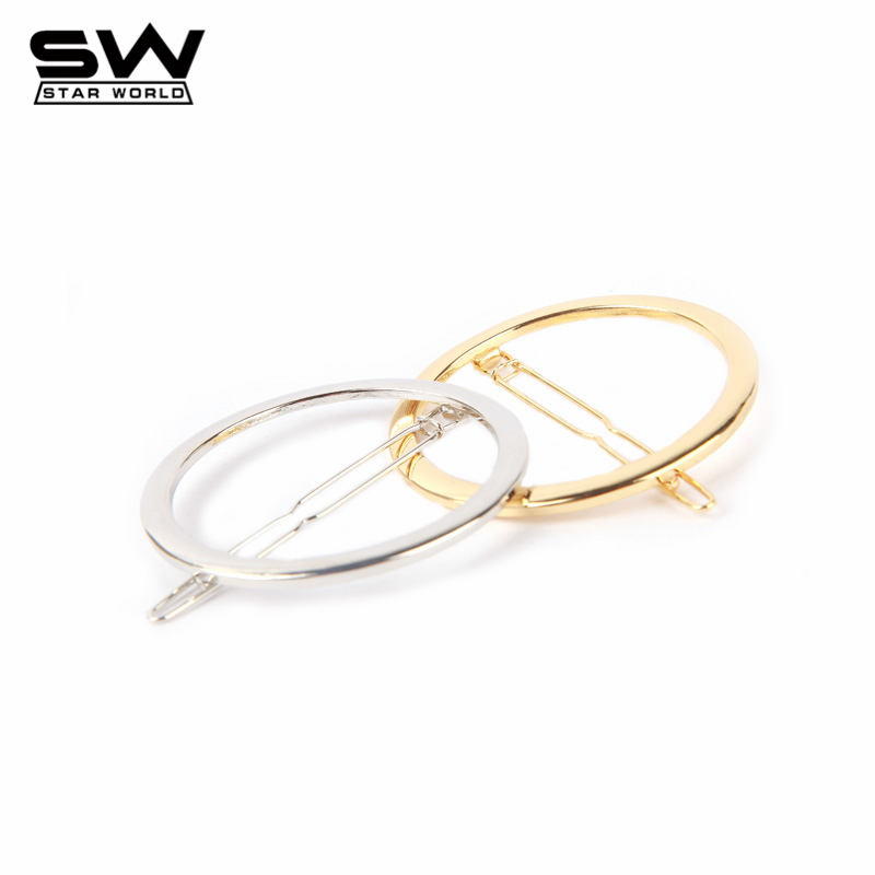 STARWORLD Western Minimalist Hair Pin Hair accessories Gold Plated Round Hair Jewelry for Women 2016 F027(China (Mainland))