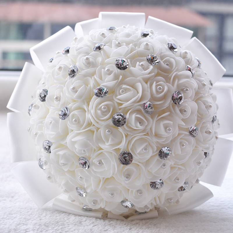 Artificial Bridal Bouquet White : Beautiful artificial white ivory blue red rose wedding