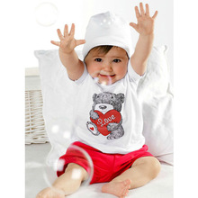 New 2 PCS Baby Kids Tops+Pants Heart Bear Pattern Outfits Set Clothes 0-3 Year