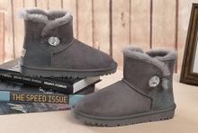 Nueva hebilla del botón corto Cristal de piel de oveja de cuero de piel de las mujeres ug botas de nieve caliente botas zapatos zapato(China (Mainland))