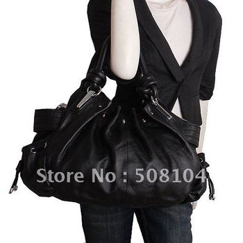 Best Sellers + Free Shipping 1053 Black Genuine Cow Leather Bag