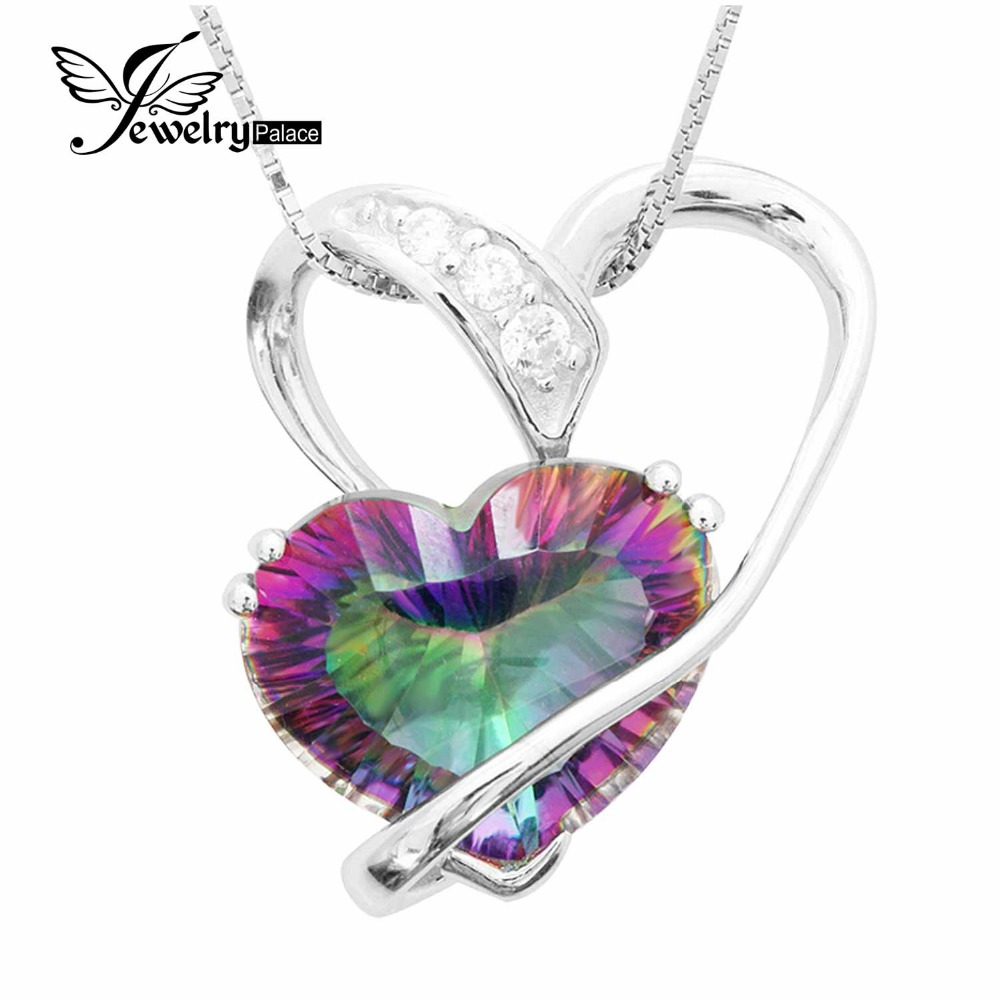6.2ct Genuine Rainbow Fire Mystic Topaz Romantic Heart Women Pendant Concave Cut 925 Sterling Silver Hot Charm Vintage Jewelry(China (Mainland))
