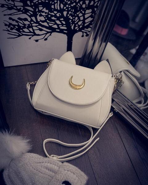 2016 Hot Sale Sailor Moon Bag Ladies Leather Handbag Black White Cat Luna Moon Cute Women Messenger Crossbody Bag(China (Mainland))