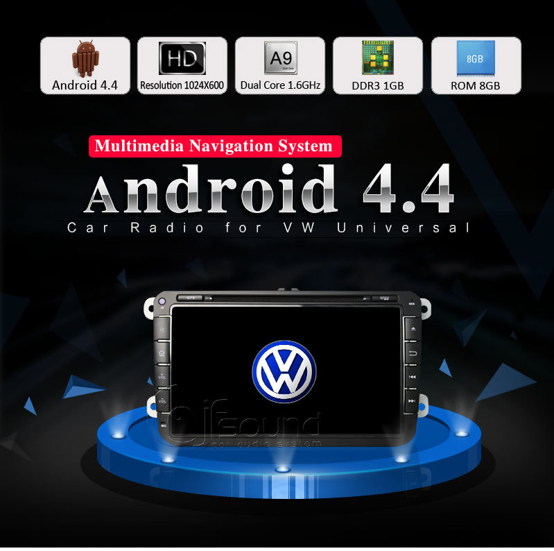 Quad Core 1024*600 2 Din Android 4.4 VW Car DVD GPS Navi GOLF 6 Polo Bora JETTA MK4 PASSAT B6 Tiguan SKODA OCTAVIA Fabia KD 7(China (Mainland))