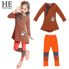 Kids clothes casual Europe and the leisure suits girl long sleeve stripe T-shirt + leggings Children clothesNew 2015 Autumn(China (Mainland))