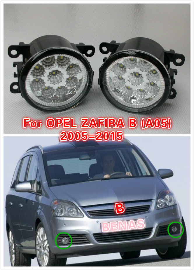 For OPEL ZAFIRA B (A05) 2005/06/07/08/09/-2015 Car styling LED fog lightsHigh Brightness front bumper fog light Gray Covers 12V