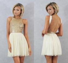 Charmming 2015 Hot Moda Curto Prom Dress Chiffon com Top de Ouro Champagne Lantejoulas Vestidos Dama de honra