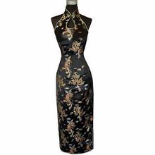 Fashion Black Chinese Women's Traditional Long Qipao Halter Cheongsam Backless Costume Dress Size S M L XL XXL XXXL