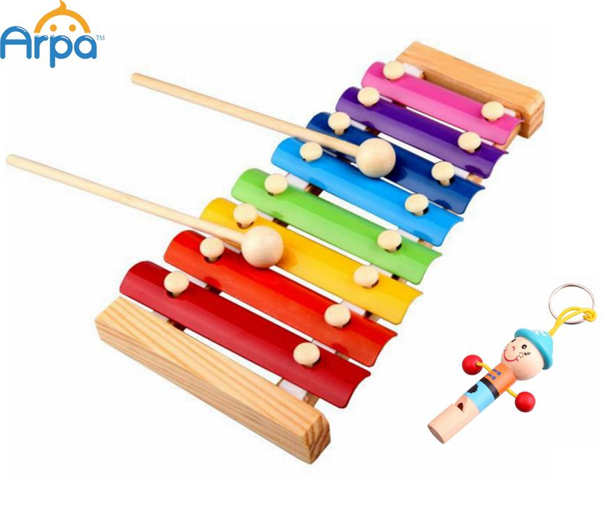 Melody Xylophone and Whistle Baby's Early Childhood Education Wooden Musical Instrument Toys Trailer 8 Scales , 24*13cm(China (Mainland))