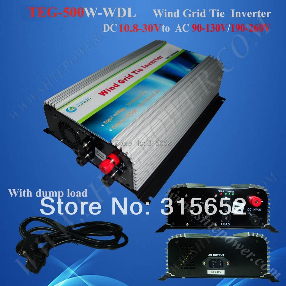 500W Wind Turbine Grid Tie Inverter DC 10.8V-30V Input to AC 90-130V/190-260V(China (Mainland))