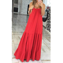 LASPERAL Party Dresses Women O-Neck Sleeveless Pleated Summer Dresses Ladies Floor-Length Soild Big Swing Long Beach Bar Dresses(China (Mainland))