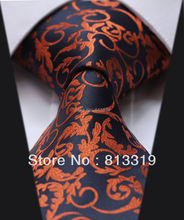 TF2014N Dark Blue Orange Floral 100% Silk New Hot Jacquard Woven Classic  Man's Tie Necktie(China (Mainland))