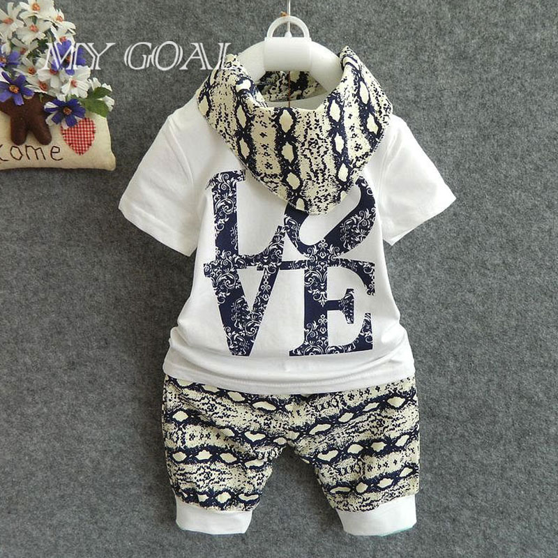 Retail 2016 Summer style Infant clothes Clothing sets Cotton Fashion Baby 3pcs(Short Sleeve + Pants + Scarf) Baby boy clothes(China (Mainland))