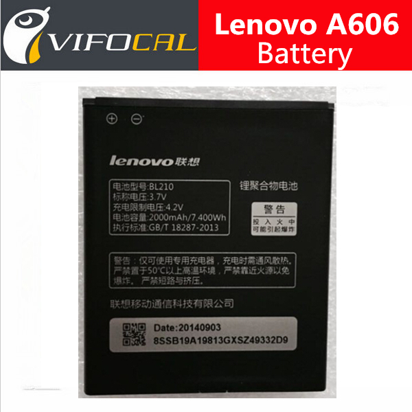 Lenovo A606 battery 2000mAh BL210 100 Original replacement Battery for A536 Mobile Phone Free Shipping In