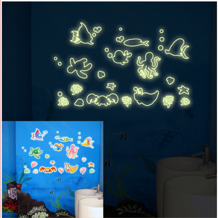 Kindergarten children new wall sticker fashion combined fluorescent stickers underwater world Y0019  -  Lovely Home-Lise store