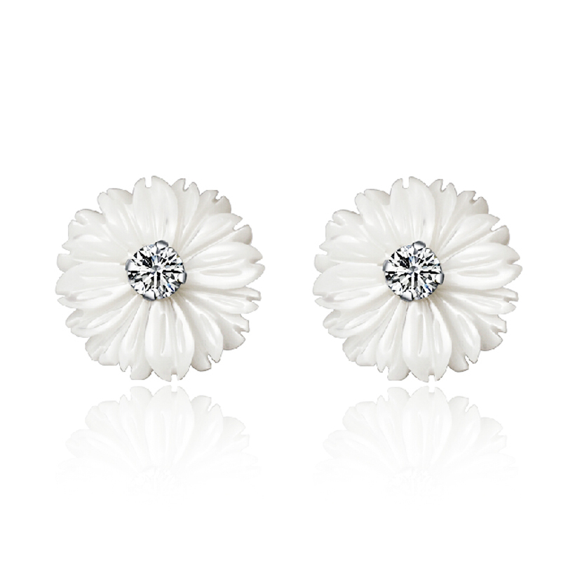 Natural Mother Pearl Shell Daisy Flower Stud Earrings Young Lady Women Genuine 925 Pure sterling silver Fashion Jewelry - Beauty Love-925 Silver store