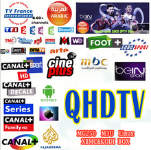 6months Europe QHDTV IPTV French Arabic Beinpsorts Canal+ Digispain Movies works MAG250,Enigma2 with 3RCA Cable Free Shipment