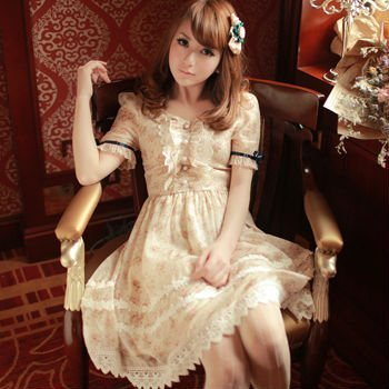 Free shipping 2012 Sweet vintage printed dresses ruffles skirt high waist mosaic doll dress H23017