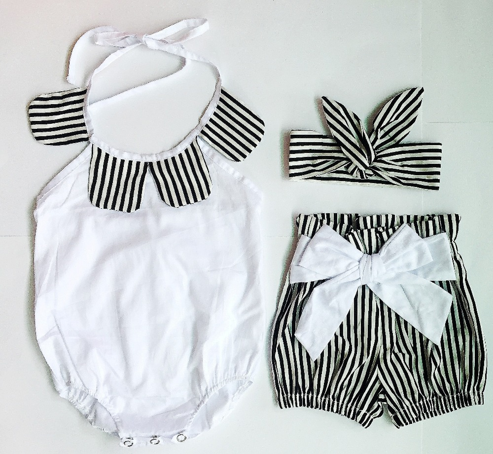 In Stock! Baby Clothing Sets, Girls summer 3PCS clothes headbands + bodysuit + shorst cute baby wear RETAIL e269(China (Mainland))