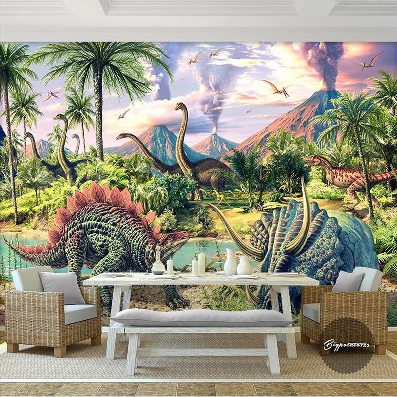 achetez en gros dinosaure papier peint mural en ligne. Black Bedroom Furniture Sets. Home Design Ideas