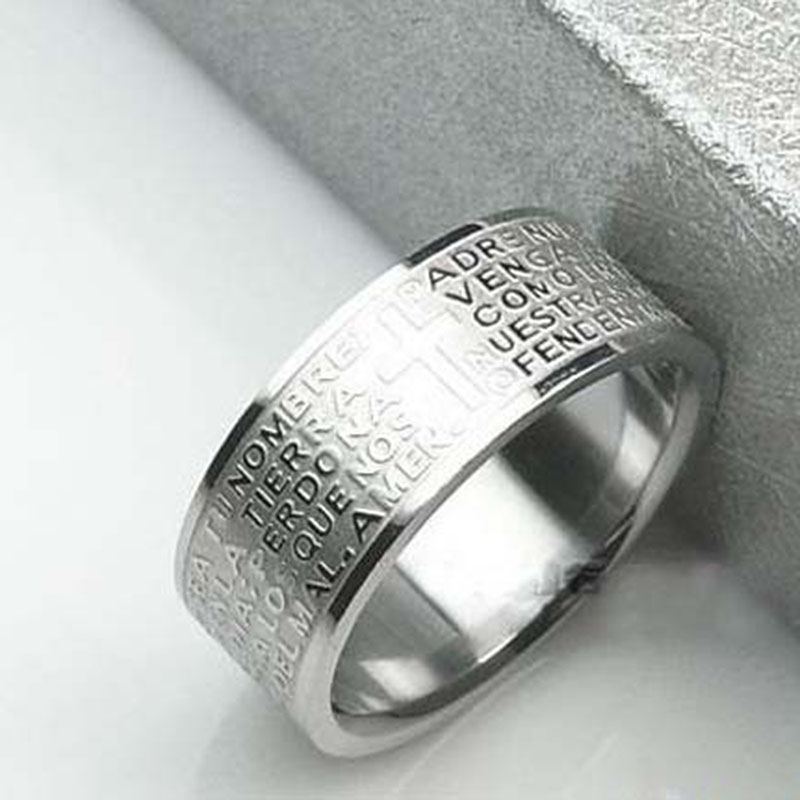 M1104 Serbian Bible Lord's Prayer Cross Ring Etched Carving Engraved Stainless Steel Rings Fashion Religious Jewelry(China (Mainland))