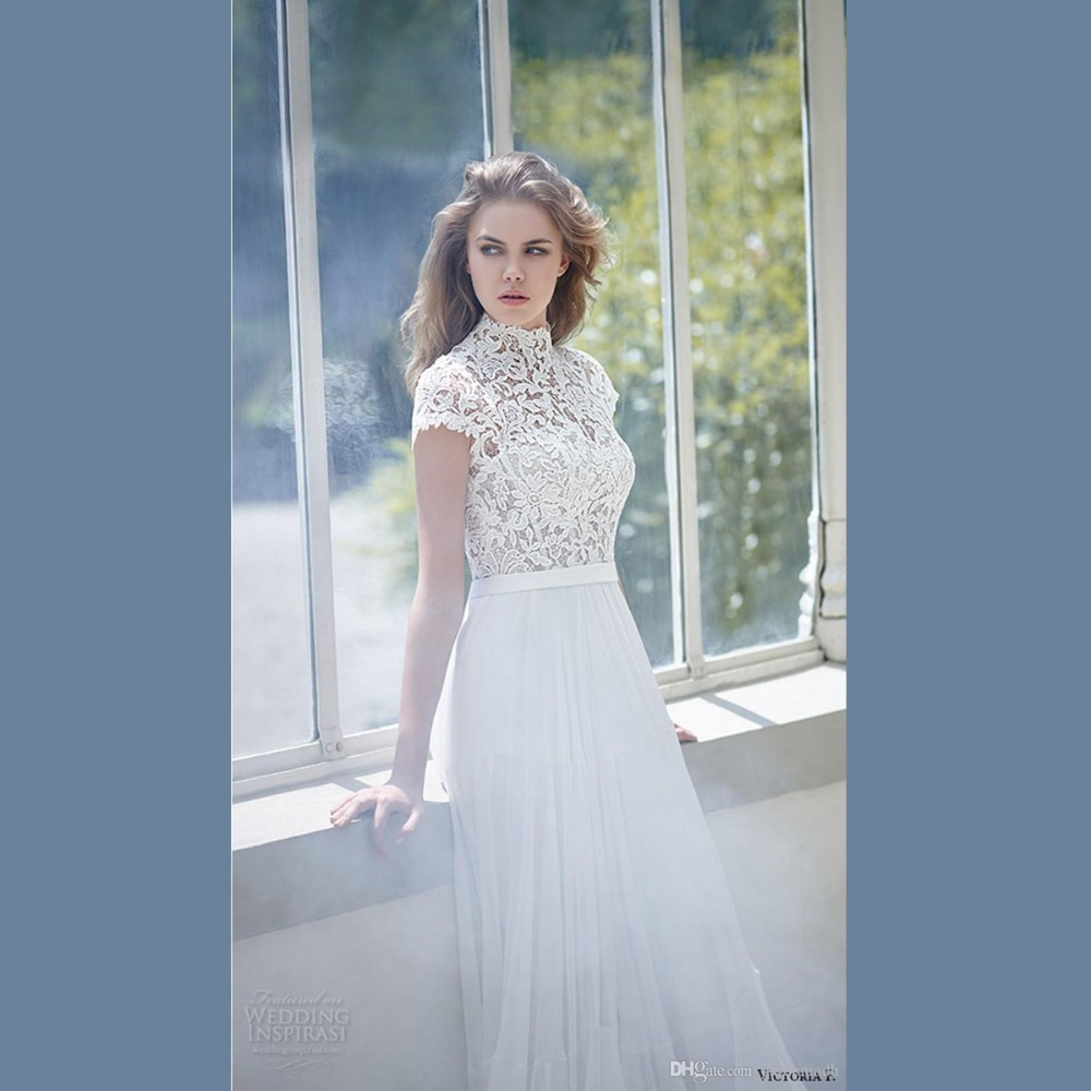 Victoria 2016 white bridal gown high collar short sleeves for Wedding dress high collar